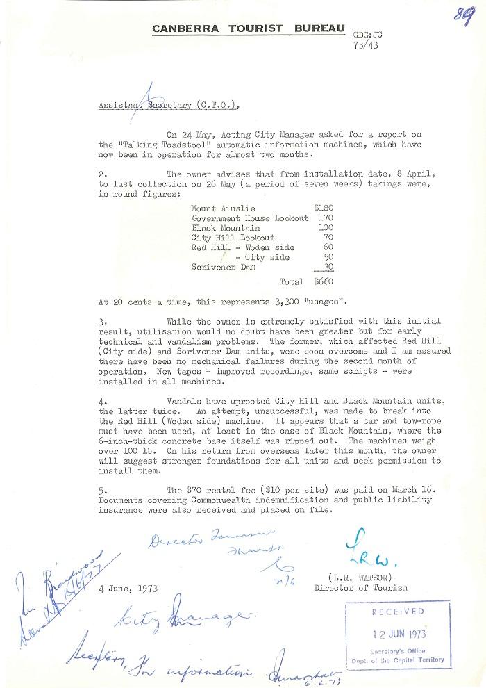 73/43 - ACT Tourist Bureau - Information Machines (Talking Toadstools) - folio 89