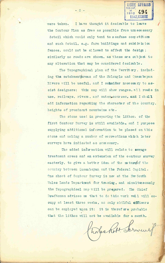 Memorandum to Department of Home Affairs from Charles Scrivener 30th April 1910 page 2