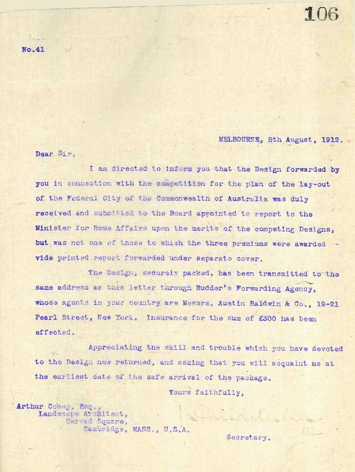 Rejection letter to A.C. Comey 8th August 1912