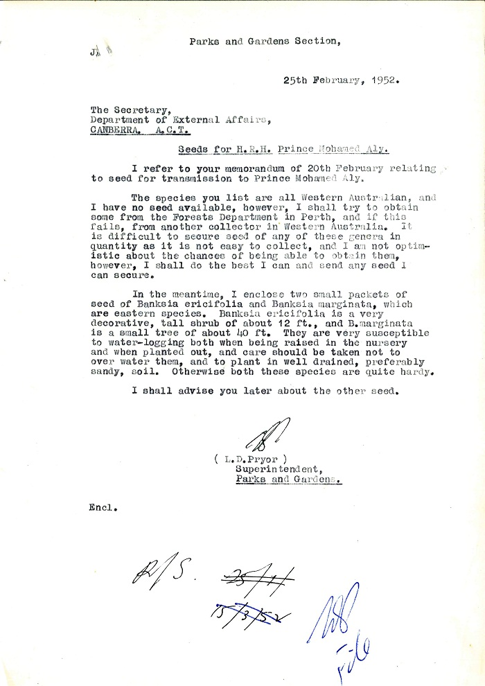 Memo to Secretary Department of External Affairs from Lindsay Pryor 25th February 1952