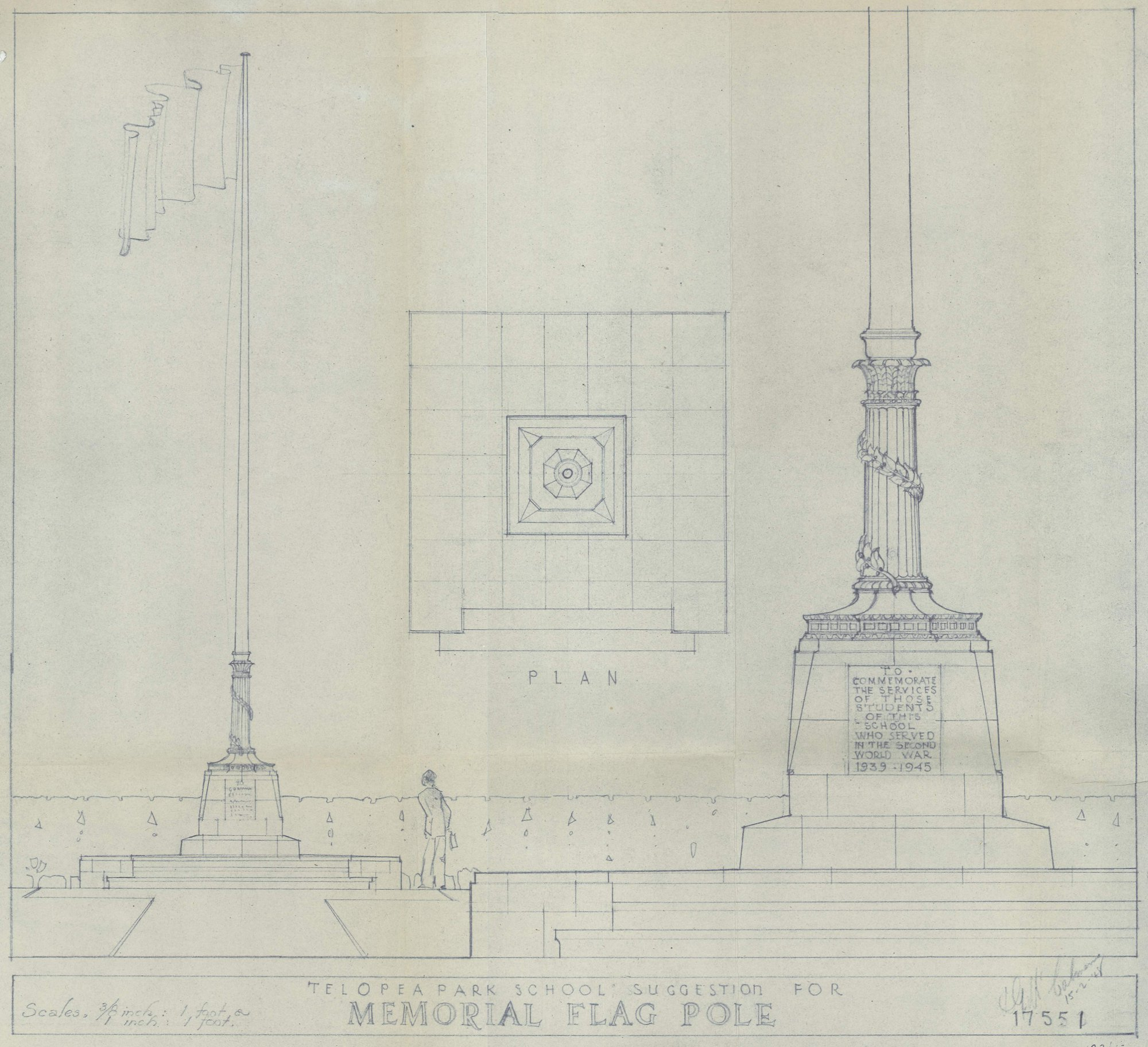 Plan 17551 for Telopea Park War Memorial Flagpole