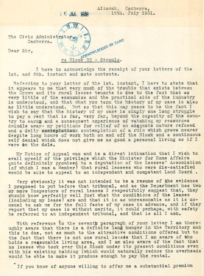 Letter - Anderson to Civic Administrator 15 July 1931 page 1