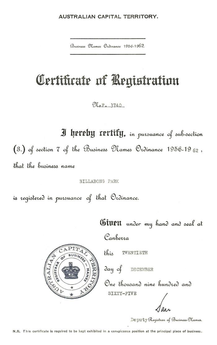Certificate of Registration for Billabong Park