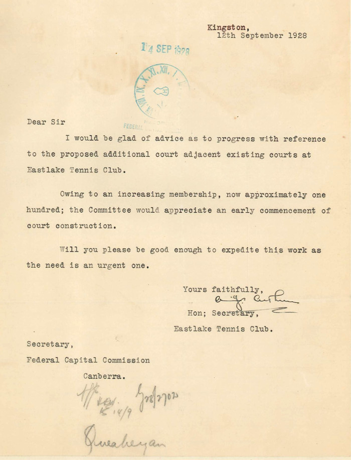 Letter from A.J. Arthur to Secretary for the Federal Capital Commission -12th September 1928