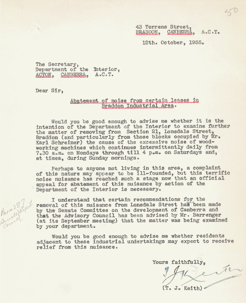 Letter dated 12th October 1955 from T.J. Keith to the Department of the Interior to complain about the noise in Braddon