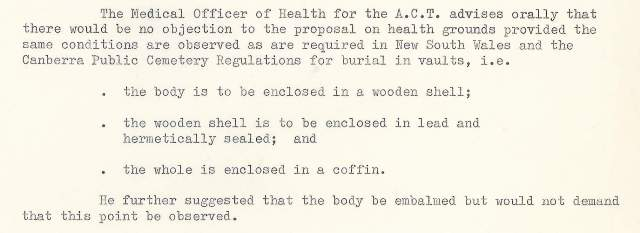Medical advice re preparing bodies for interment