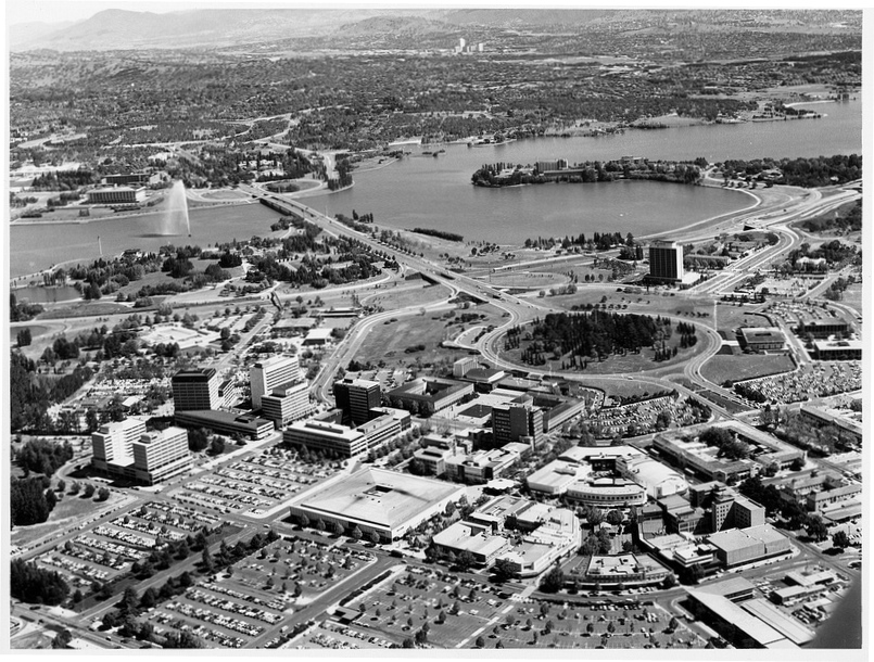 Central Canberra looking towards National Library