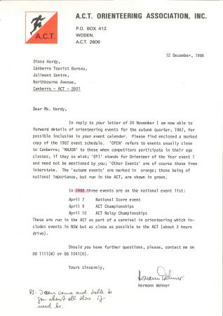 ACT Orienteering event planning letter