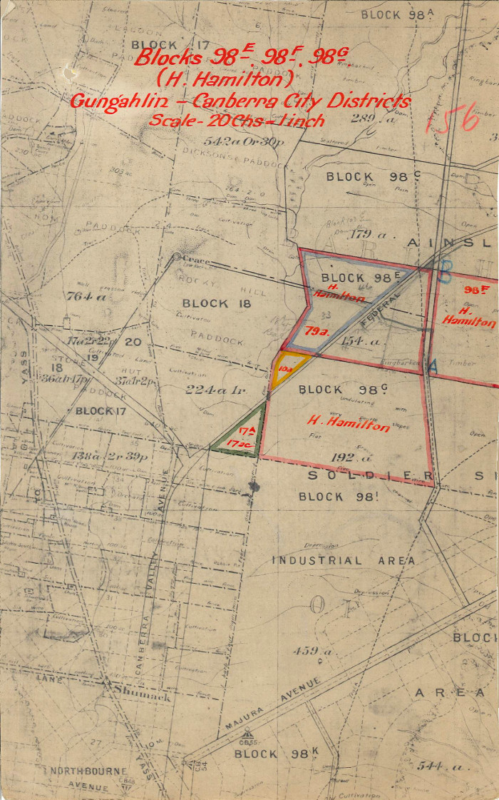 Plan of Gungahlin showing location of Block 98C