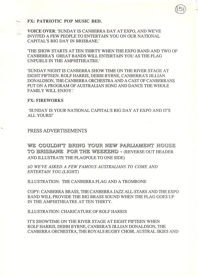 Press and Radio Advertisements for Canberra Day at Expo 88 11/09/1988 (draft) - page 2