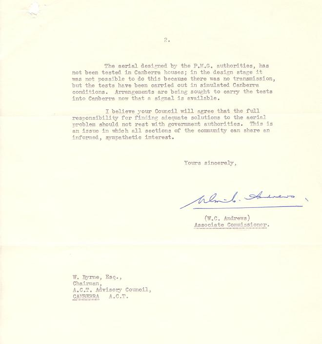Letter from NCDC to ACT Advisory Council 27/04/1962 - page 2