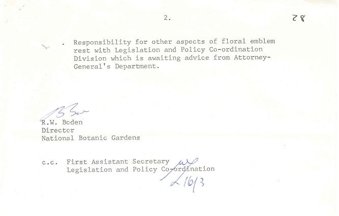 National Botanic Gardens Minute Paper 11/03/1982 : ACT Floral Emblem - page 2
