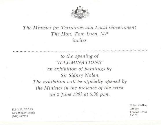 Illuminations Nolan Exhibition Opening 02-06-1983