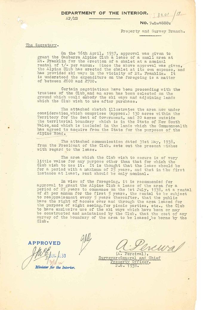 Parks Reserves & Public Places - Liaison - Lands Branch - Cotter River - Canberra Alpine Club - Block 2 & 4 (Mt Franklin Chalet) 1935-1957 pt 1 : folio 02/06/1938