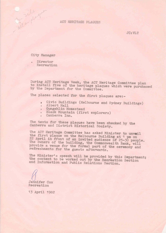 Memo from Jennifer Cox to Director Recreation - 13/04/1982
