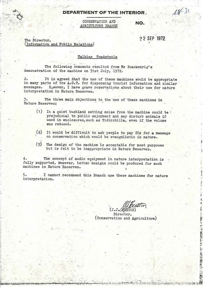 72/122 - Canberra Tourist Bureau - Information Machines - folio 31