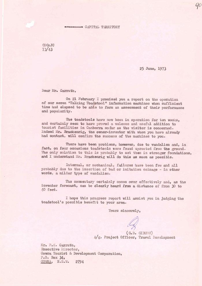 73/43 - ACT Tourist Bureau - Information Machines (Talking Toadstools) - folio 90