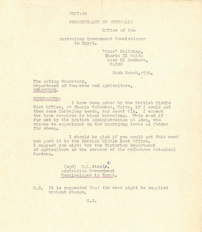 Memo from C.L. Steele to Acting Secretary Department of Commerce and Agriculture 24th March 1950