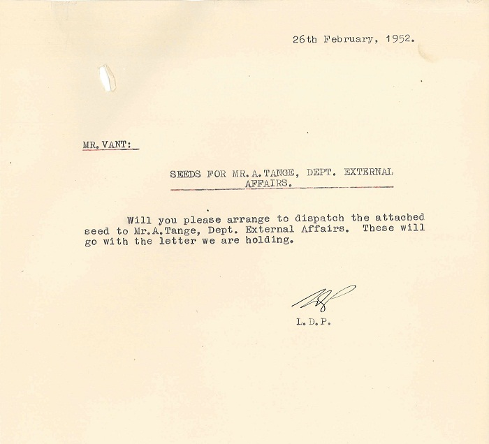 Memo to Mr Vant from Lindsay Pryor 26th February 1952