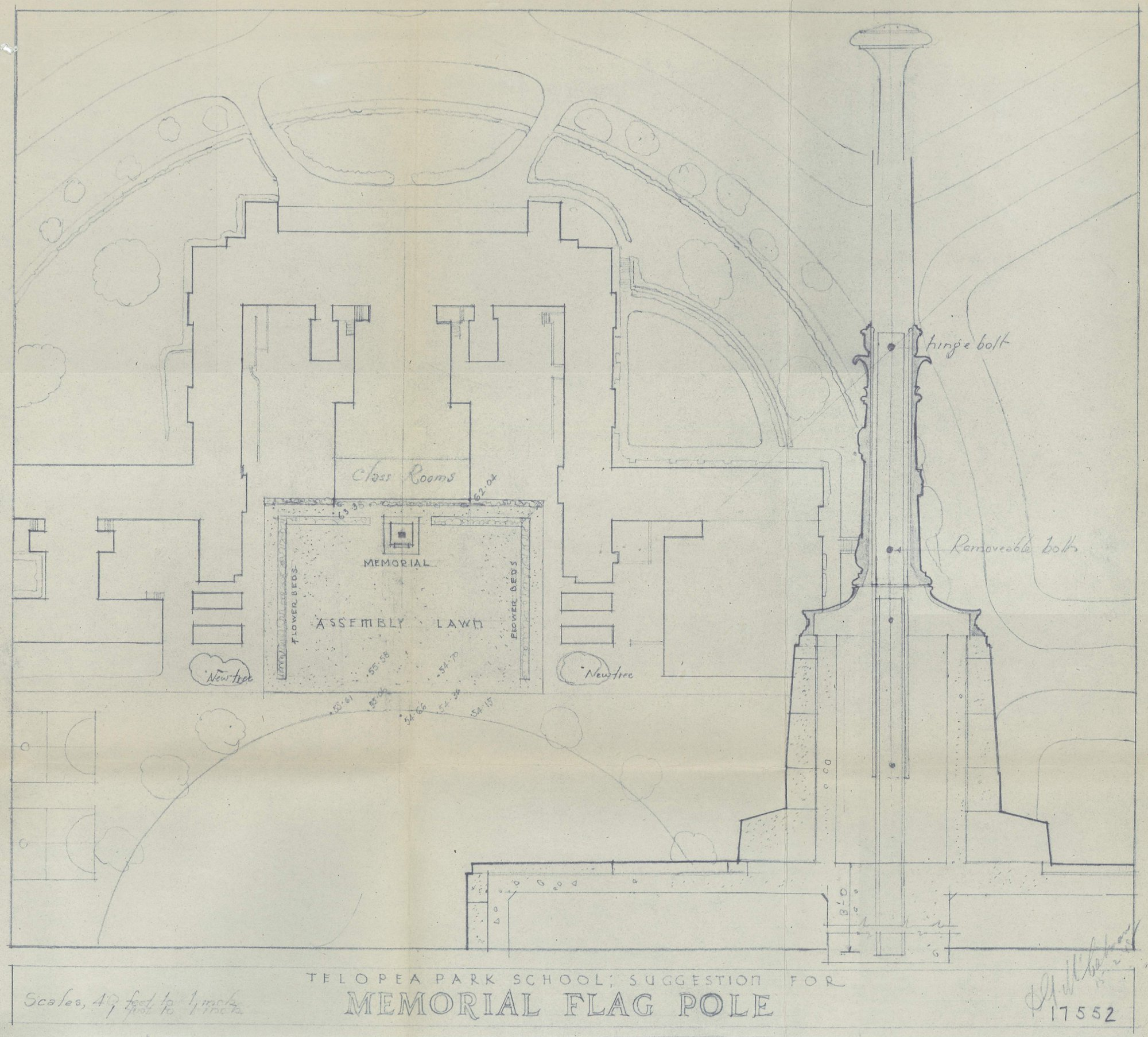 Plan 17552 for Telopea Park War Memorial Flagpole