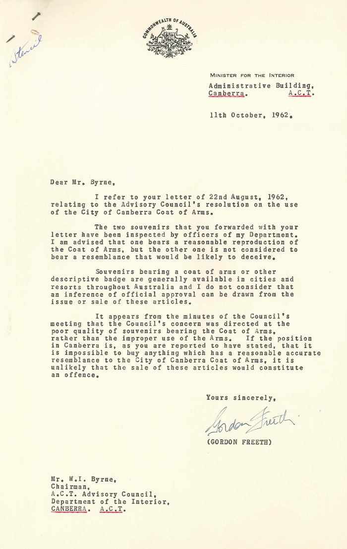 Letter from Gordon Freeth to William Byrne - 11-10-1962
