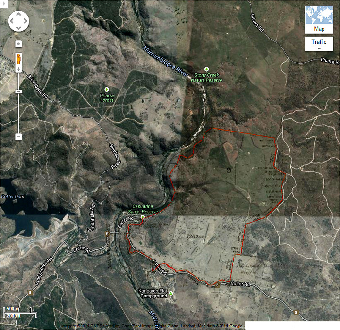 Google Maps image of area c2013 with Stromlo Block 9 boundary in red