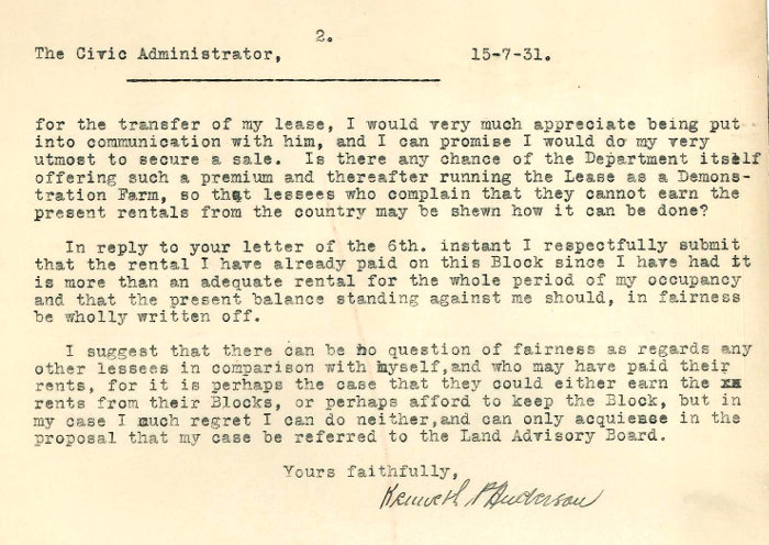 Letter - Anderson to Civic Administrator 15 July 1931 page 2