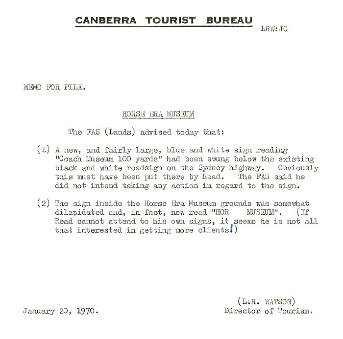 Canberra Tourist Bureau memo of Billabong Park signage (File 70/10 folio 25)