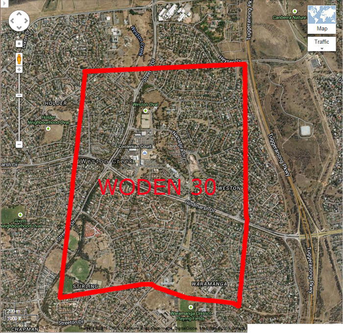 Google Maps image of area c2014 with Woden Block 30 boundary in red