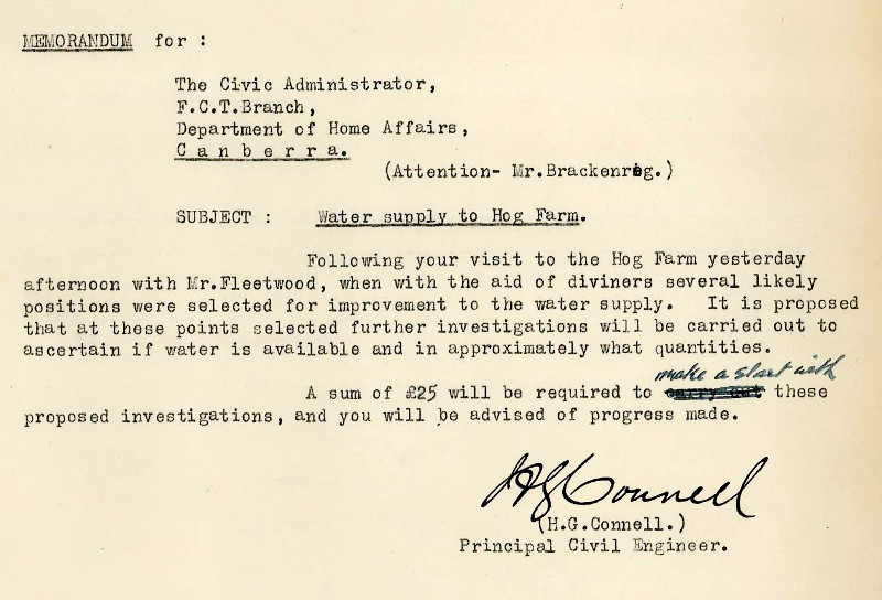 Memo from Principal Engineer, H.G. Connell to Brackenreg dated the 11th March 1931