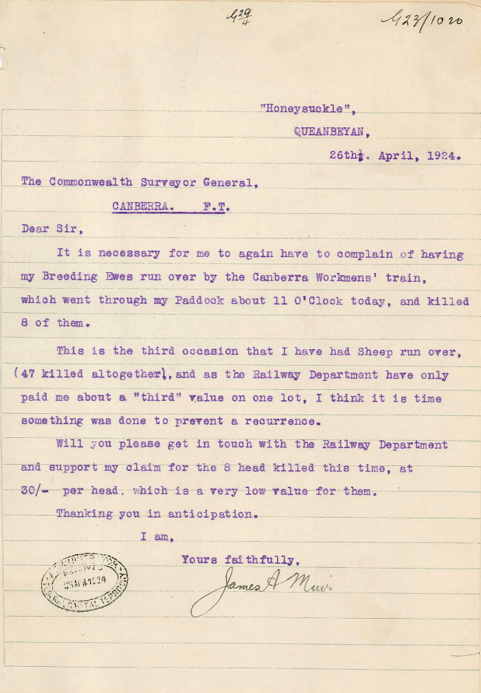 Letter from Muir to the Commonwealth Surveyor General dated the 26th April 1924