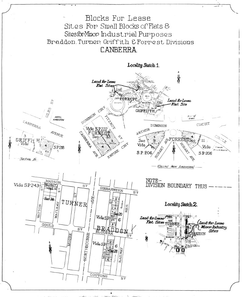 Department of the Interior poster showing minor industrial blocks for lease in March 1946