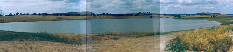 Gungahlin Pond in 1992. Looking north from near dam wall (Source: 91/18989)