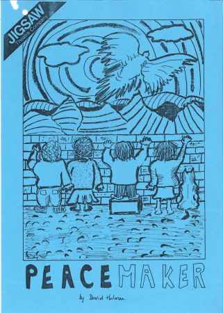 Jigsaw Theatre Company hand drawn flier for Peacemaker