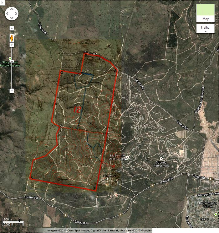 Google Maps image of area c2013 with Stromlo Block 12 boundary in red