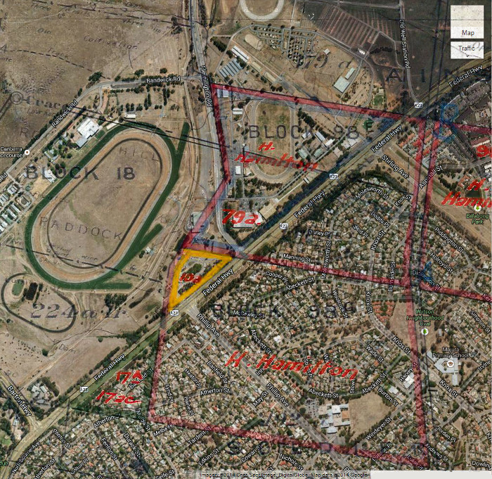Google Maps image of area c2013 with Gungahlin Block 98E and 98G boundaries in red