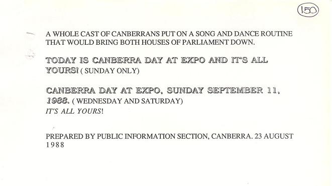 Press and Radio Advertisements for Canberra Day at Expo 88 11/09/1988 (draft) - page 3