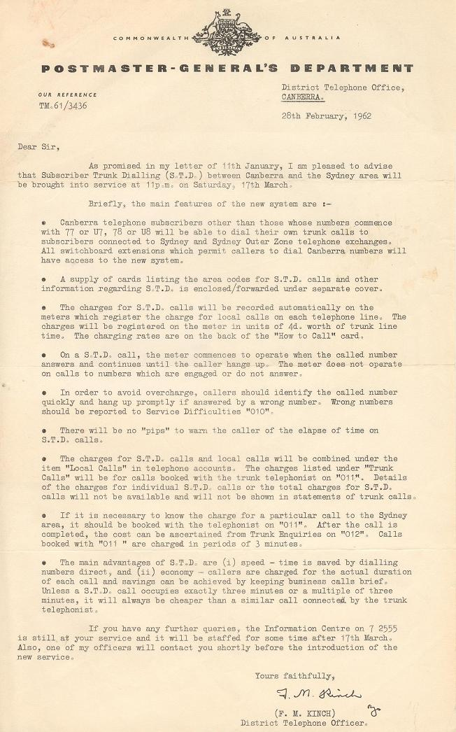 Letter - Postmaster-General's Department 28/02/1962
