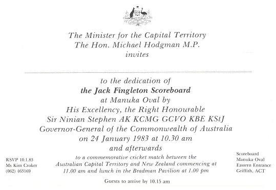 Jack Fingleton Scoreboard Opening 24-01-1983