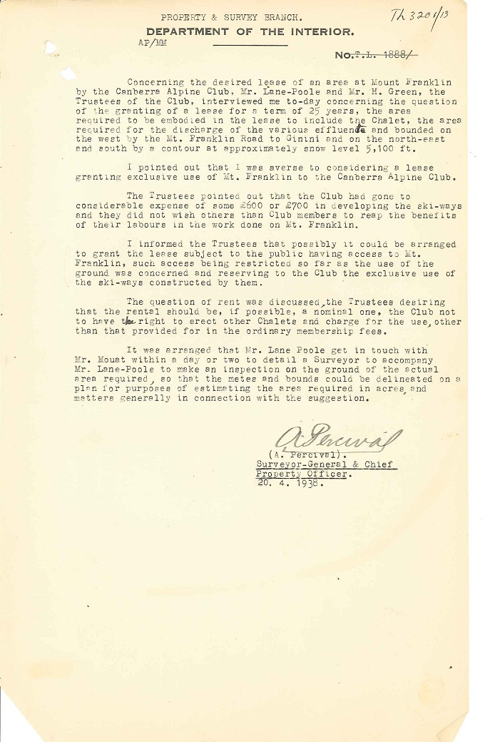 Parks Reserves & Public Places - Liaison - Lands Branch - Cotter River - Canberra Alpine Club - Block 2 & 4 (Mt Franklin Chalet) 1935-1957 pt 1 : folio 20/04/1938