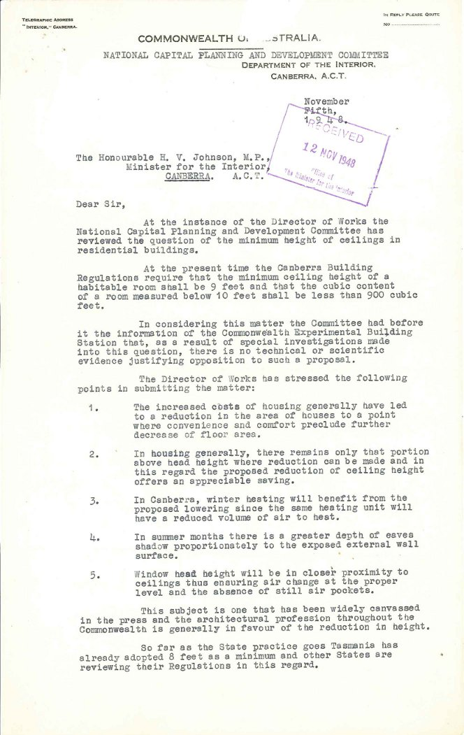 PC35/5/0 – National Capital Planning & Development Committee – Ceiling Heights in Dwellings - Letter dated 15/11/1948 p1