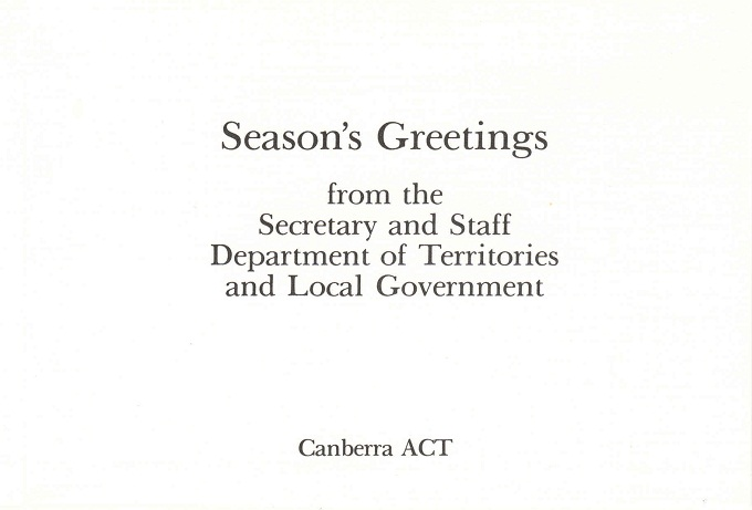 Department of Territories and Local Goverment 1982 Christmas Card - inside