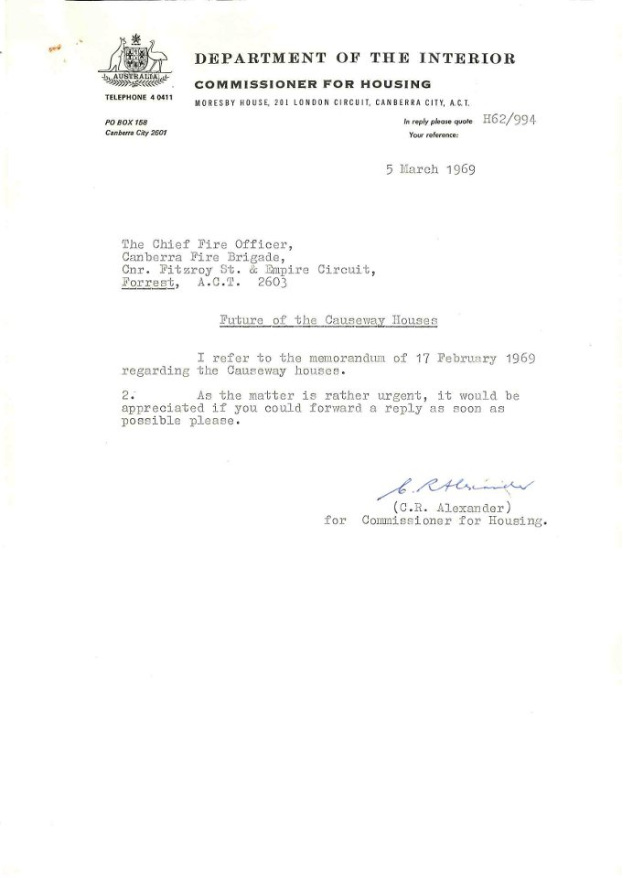 Department of the Interior Commissioner for Housing memo to the Chief Fire Officer - 05/03/1969