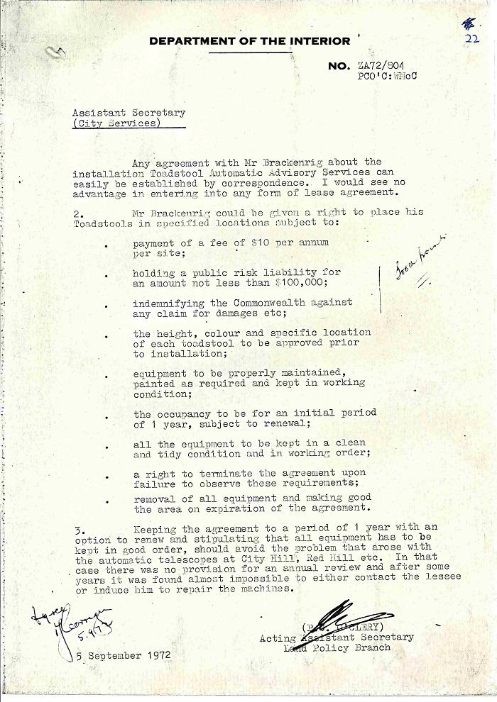 72/122 - Canberra Tourist Bureau - Information Machines - folio 22