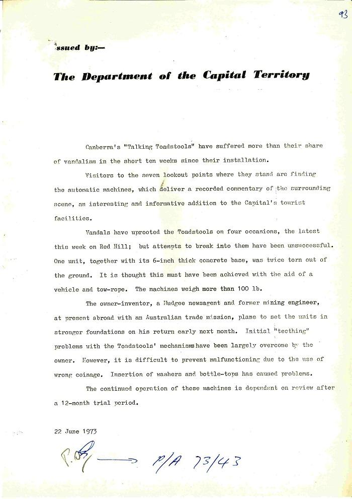 73/43 - ACT Tourist Bureau - Information Machines (Talking Toadstools) - folio 93