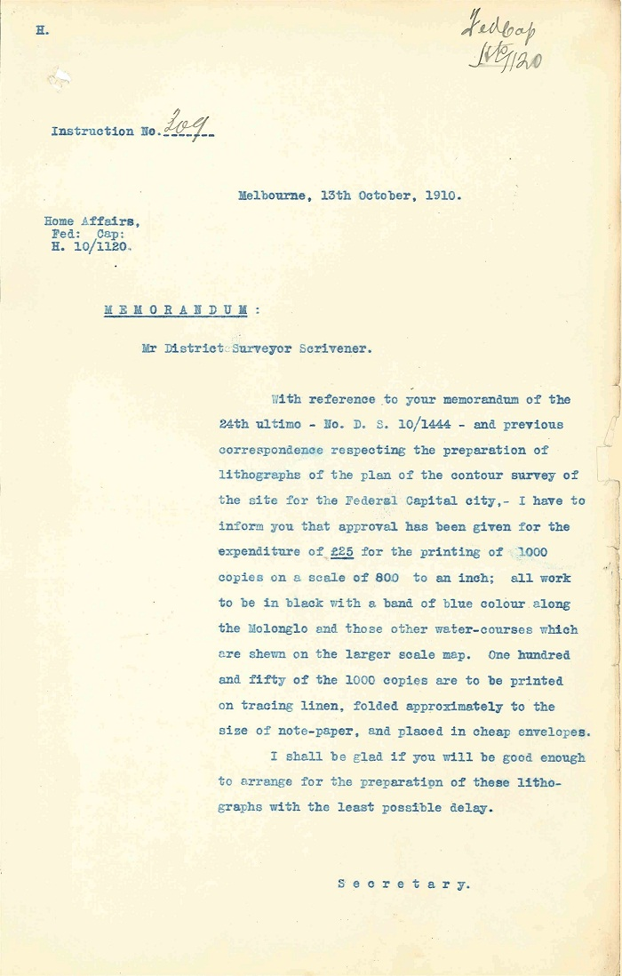 Memorandum to Charles Scrivener from Department of Home Affairs 13th October 1910