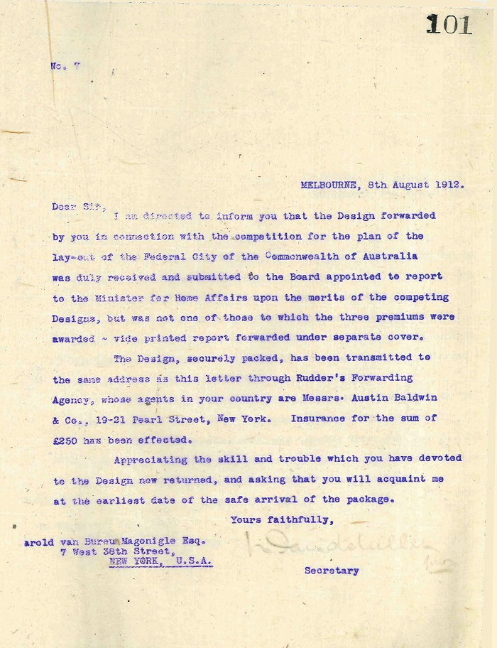 Rejection letter to H van Bureau Magonigle 8th August 1912