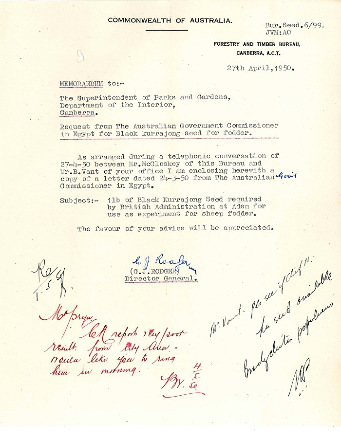 Memo from G.J. Rodger to Lindsay Pryor 27th April 1950