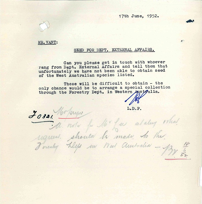 Memo to Mr Vant from Kindsay Pryor 17th June 1952