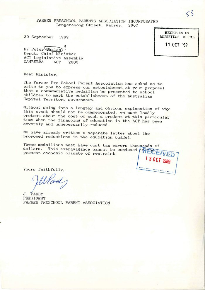 Letter from Farrer Preschool Parents Association to Deputy Chief Minister Paul Whalan 30 September 1989